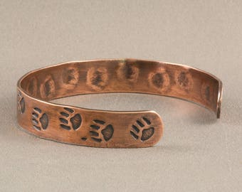 Bear Paw Cuff, Copper Bangle, Copper Cuff, Cuff Bangle Bracelet, Stamped Cuff, Patterned Cuff, Copper Bracelet,