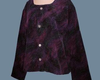 Vintage 80s Feather Print Corduroy Top Jacket L