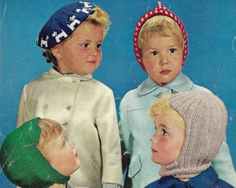 knitting pattern, pdf, boys, girls, hat, beret, pixie, balaclava, double knitting, instant download, digital download
