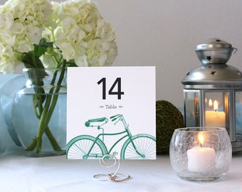 Bicycle Simple Romantic Table Number Printable Wedding Marker