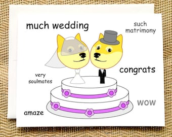 Funny Wedding Card -  Funny Doge Meme Wedding Card Funny Engagement Card Funny Wedding Card Congratulations Straight Wedding Card Funny