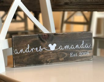 Custom Couple's Names Wooden Sign