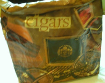 Decoupage Grocery Bag Wastebaskets--Cigars