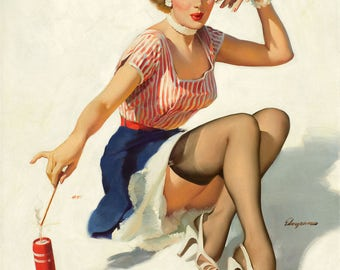Pin Up Girl Art Print Reproduction, looking_for_trouble_1953 by Gil Elvgren