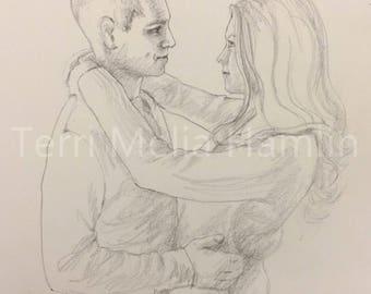 CustomWedding Gift Portrait Drawing, Couple Portrait Drawing, Anniversary Portrait Drawing, Hand Drawn Custom Portraits
