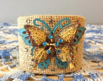 Burlap Butterfly Bracelet