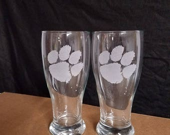 2 etched beer pilsner drinking glasses, Clemson Tigers
