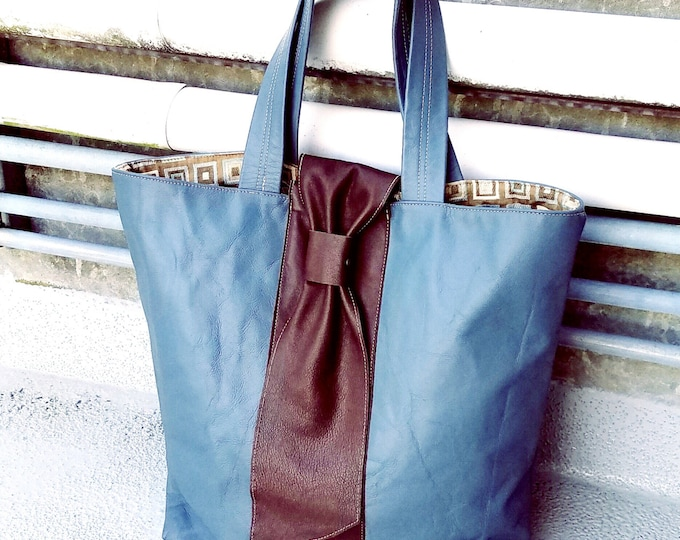 Chocolate Tie Carry All Bag / Large Tote / Blue Tote Bag / Luggage Bag / Blue Luggage / Free Shipping!!