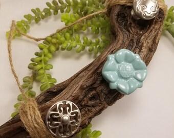 Teal Mesquite Wood Jewelry Hanger