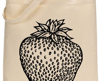 Strawberry cotton tote bag - Book bag, Shopping bag Reusable and Washable - Eco Friendly