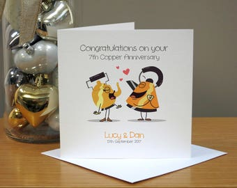 Personalised 7th Anniversary Card - Copper Anniversary Card - Funny Anniversary Card - Cartoon - For Husband/Wife - For Couple - For Him/Her