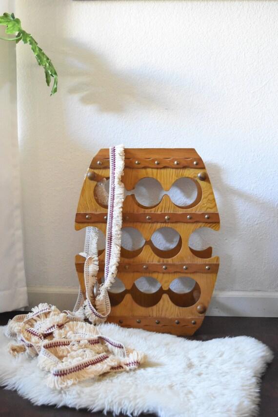 vintage rustic mid century wooden barrel wine rack / bottle storage display