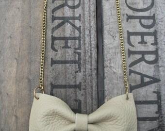 Handmade Cream Leather Bow Tie Necklace