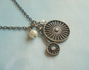 Penny Farthing Necklace Bike Necklace Old fashion Bike Pendant Vintage Bike Necklace Bike Jewelry Brass Bike Necklace