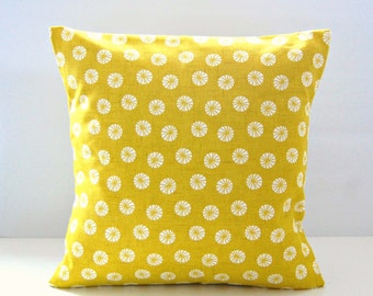 decorative pillow cover mustard yellow retro flowers,  16 inch cushion cover
