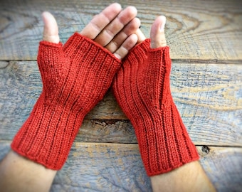 Mens red wool fingerless gloves