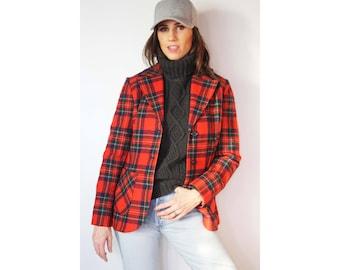 Pendleton Wool Blazer / Vintage / Plaid / Virgin Wool / Made in USA / Woman's / Retro