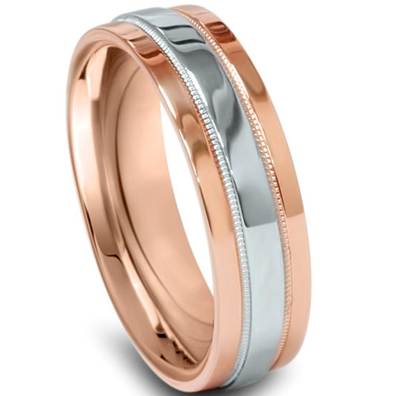 Rose Gold 950 Platinum Two Tone Mens Wedding Band Comfort