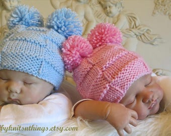 Baby Boy Girl Pom Pom Hats for Twins, Baby Basket weave Hats, Checker Hats for Twins, Baby Bear Blue Pink Beanies, Twin Beanies