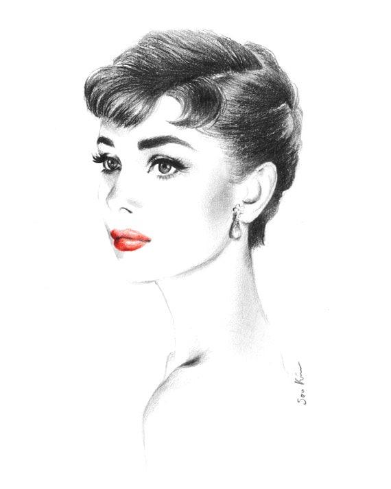 Audrey hepburn portrait sabrina charcoal pencil drawing - Laminas audrey hepburn ...