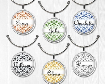 wine charm set party favor charms wedding favor charms custom wine charms name wine charms set round personalized wine charms