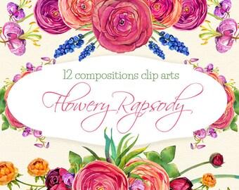 Asian buttercup clipart, watercolor flowers clipart, watercolour flower clipart, wedding flowers clipart, Spring clipart, wreaths clipart