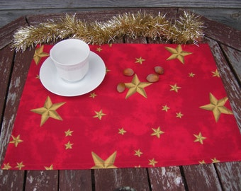 Red Cotton  placemat, Handmade Table Linen, Christmas  Decor, Dining Supply, Home Textiles