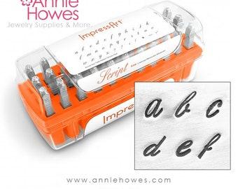 Metal Stamp Alphabet Set. Script Lowercase set. Impressart Alphabet Stamp Set with Case - 4mm metal stamps -Script Lowercase Set