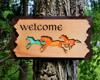 Wild Horse Wood Welcome Sign