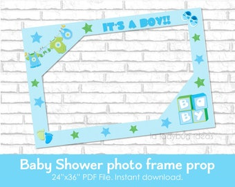 Baby shower frame photo prop. DIY blue photo frame prop. It's a boy frame for selfie station. Boy photo frame. PDF File. Instant download.