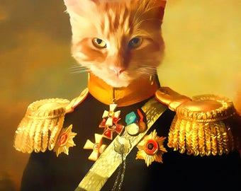 cat portrait, feline art, cat poster, cat illustration, cat art drawing, animal portrait, muchkin cat, pet memorial gifts