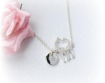 Silver giraffe Necklace, Sisters Jewellery, Best Friends, Gift Idea, Initials, animal jewelry, giraffe jewellery, giraffe, animal necklace