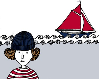 Nautical sailor print. She wanted to be a sailor