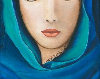 The Seer, Acrylic Painting, Original, Woman, Blue Scarf, Spiritual