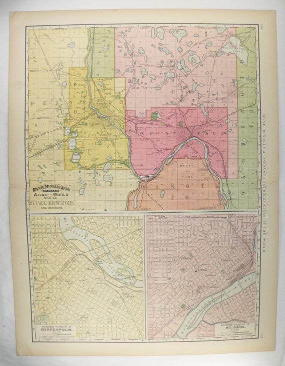 Large Antique Map St Paul MN Map Minneapolis MN Map 1897