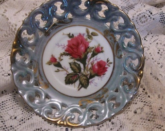 Royal Sealy China Saucer - Red Roses and Blue Edges