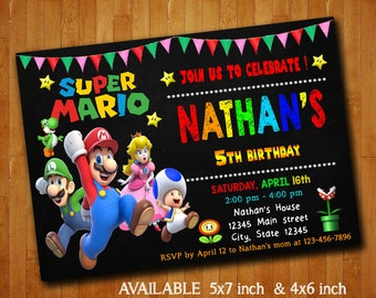 Super Mario Invitations Super Mario Birthday Party Invitation Super Mario Digital File Printable