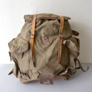 Vintage French Rucksack LAFUMA made in France / scout Backpack / french army hiking bag 50s  / rare large model