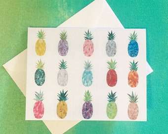FIVE PACK- Pineapple folded notecard