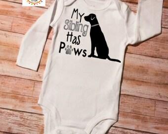 Sibling Baby Onesie, Baby Shower Gift, My Sibling Has Paws, Dog Baby Onesie, New Baby, Baby Onesie, Sibling Shirts, New Baby Gift