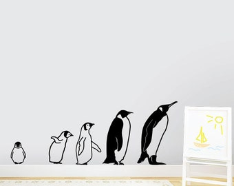 March Of The Penguins Wall Decal - Baby Animal Decal, Zoo Nursery, Zoo Party Decor, Animal Party Decor, Penguin Decal, Penguin Family