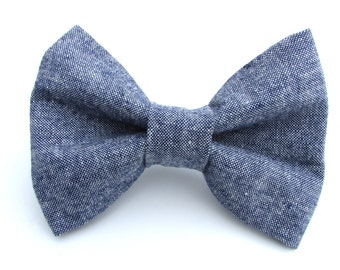 Chambray Denim Bow Tie for Dog Collar