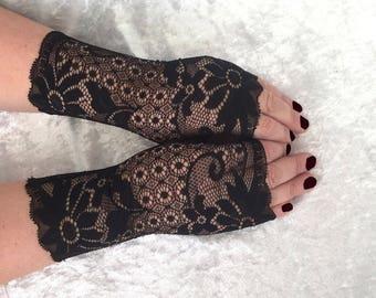 Fingerless  gloves  lace  black