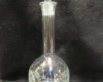Vintage Clear and Etched Crystal Decanter,  Floral Pattern.   (1537)
