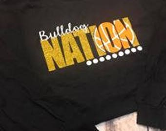 Basketball nation shirt, team shirt, basketball team shirt, vinyl basketball shirt, bulldogs, wildcats, tigers, hawks, Bulldogs sweatshirt