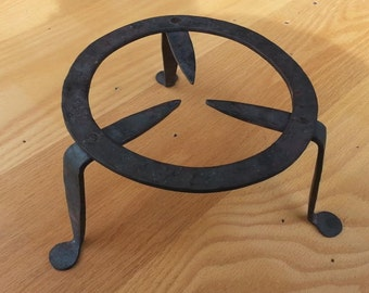 colonial style tall trivet hand forged by blacksmith