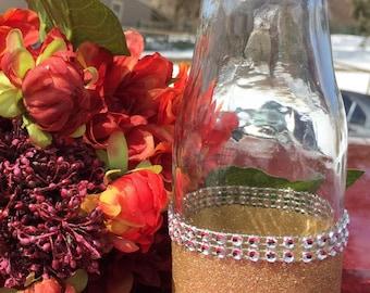 Glitter Painted Mason Jar or Vintage Glass Milk Bottle, metallic bling rhinestone, Wedding centerpiece, Party decor, Silver, Gold, Diamond