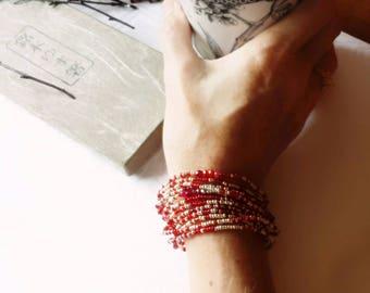 July Birthstone Bracelet - Ruby Jade, Long Seed Bead Stretch Bracelet, Necklace
