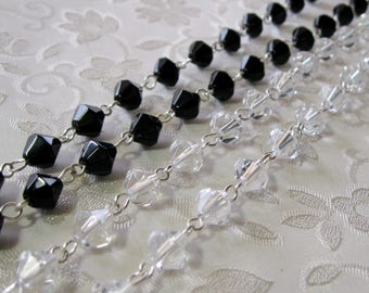 "One Meter 39.5"" Faceted AB Crystal Clear or Black Bicone Glass 8mm Beaded Rosary Chain Antique Silver 931"