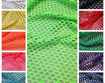 Colorful Big Hole 0.5 Inch Diamond Mesh Stretch Polyester Spandex Fishnet Fabric - 58 to 60 Inches Wide - By the Yard
